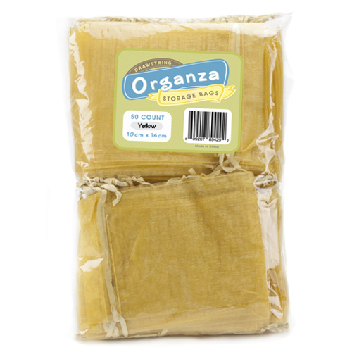 Lot of 50 Yellow Drawstring Organza Storage Bags