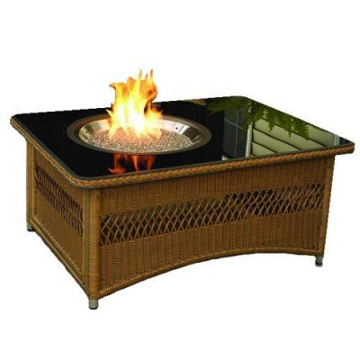 Outdoor Great Room Naples Fire Pit Table with Wicker Base