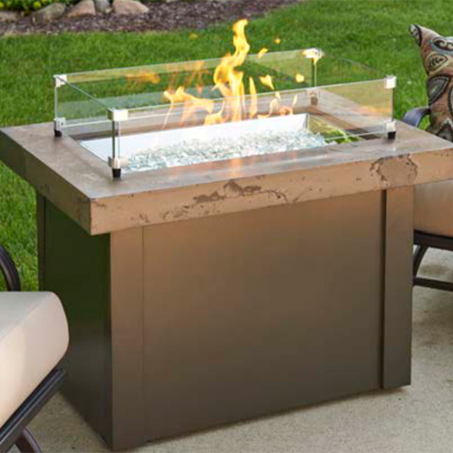 Outdoor Great Room Providence Marbelized Noche Crystal Fire Pit Table with Black Metal Base