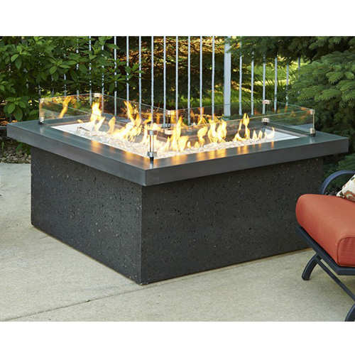 Outdoor Great Room The Pointe L-Shaped Crystal Fire Pit Table with Midnight Mist Supercast Top and Black Tereneo Base