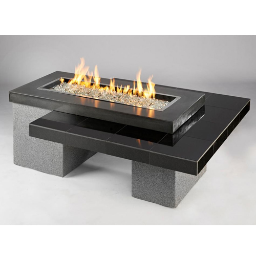Outdoor Great Room Uptown Black Crystal Fire Pit Table with Tile Top and Rectangular Burner