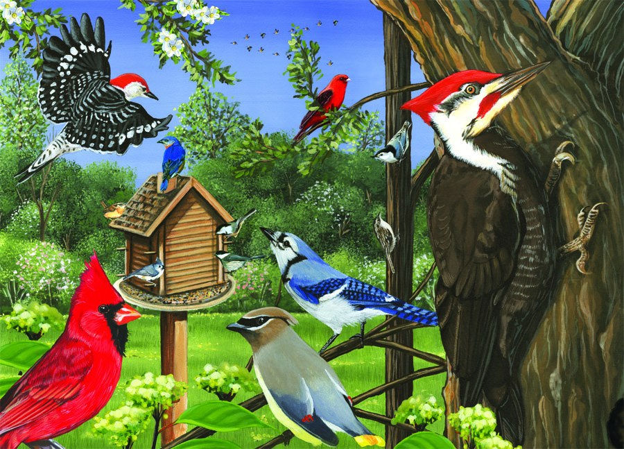 Around the Birdfeeder Tray Puzzle 35 piece Puzzle