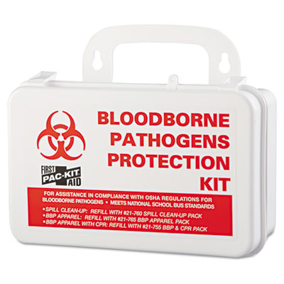 "Small Industrial Bloodborne Pathogen Kit, Plastic Case, 4.5""H x 7.5""W x 2.75""D"