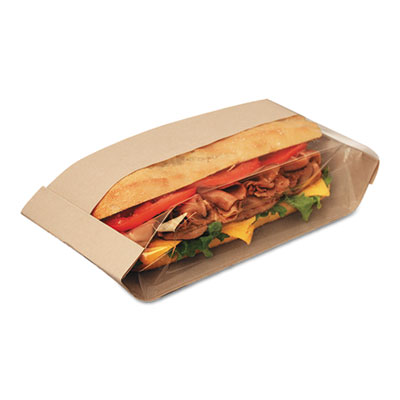Dubl View Sandwich Bags, 2.55 mil, 11 3/4 x 4 1/4 x 2 3/4, Natural Brown, 500/CT