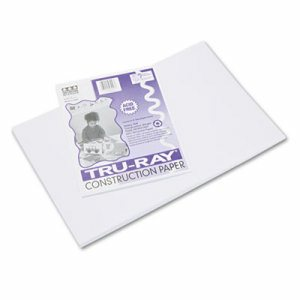 Tru-Ray Construction Paper, 76 lbs., 12 x 18, White, 50 Sheets/Pack