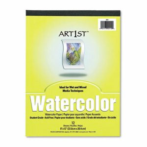 Artist Watercolor Paper Pad, 9 x 12, White, 12 Sheets