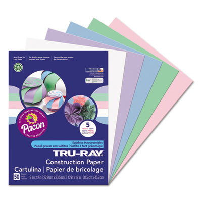 Tru-Ray Construction Paper, 76 lbs., 9 x 12, Assorted Pastel, 50 Sheets/Pack