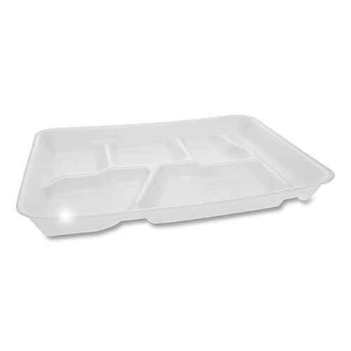 Lightweight Foam School Trays, 6-Compartment, 8.5 x 11.5 x 1.25, White, 500/Carton