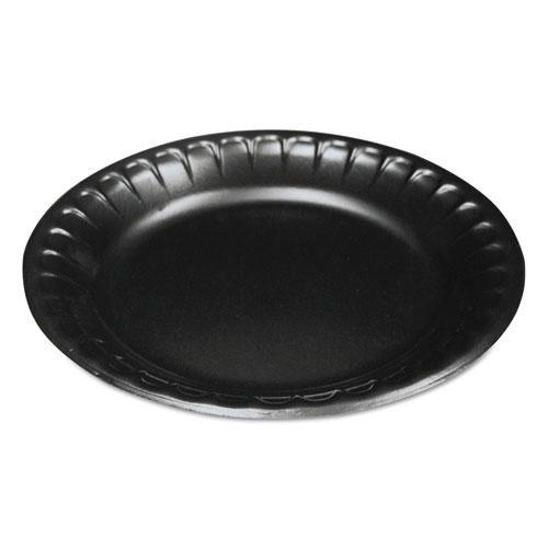 "Laminated Foam Dinnerware, Plate, 6"", Black, 125/Pack"
