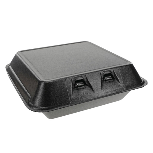 SmartLock Foam Hinged Containers, Large, 9 x 9.13 x 3.25, 1-Compartment, Black, 150/Carton