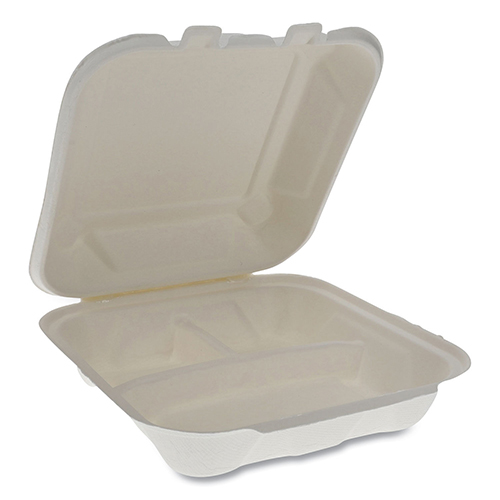 EarthChoice Bagasse Hinged Lid Container, 7.8 x 7.8 x 2.8, 3-Compartment, Natural, 150/Carton