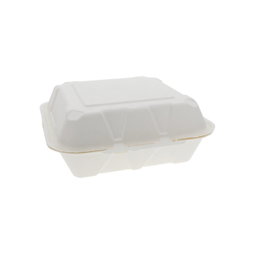 EarthChoice Bagasse Hinged Lid Container, 9 x 9 x 3.5, 1-Compartment, Natural, 150/Carton
