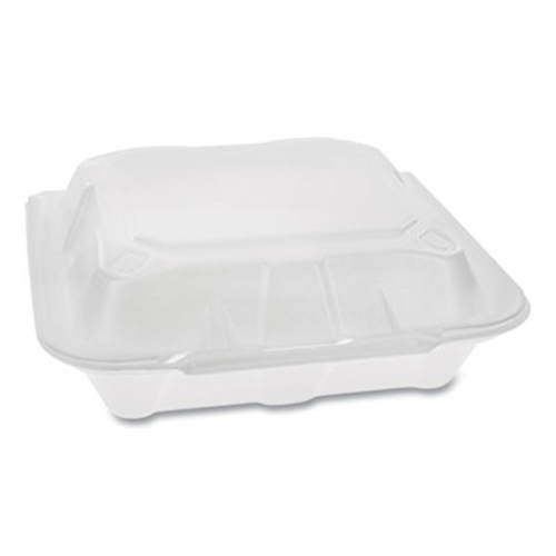 Foam Hinged Lid Containers, Dual Tab Lock Economy, 8.42 x 8.15 x 3, 1-Compartment, White, 150/Carton