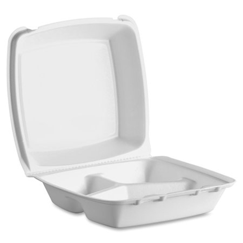Foam Hinged Lid Containers, Dual Tab Lock, 8.42 x 8.15 x 3, 3-Compartment, White, 150/Carton