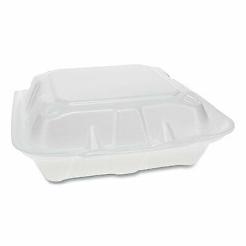Foam Hinged Lid Containers, Dual Tab Lock Economy, 8.42 x 8.15 x 3, 3-Compartment, White, 150/Carton