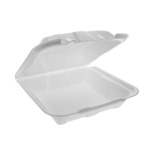 Foam Hinged Lid Containers, Dual Tab Lock Economy, 9.13 x 9 x 3.25, 1-Compartment, White, 150/Carton