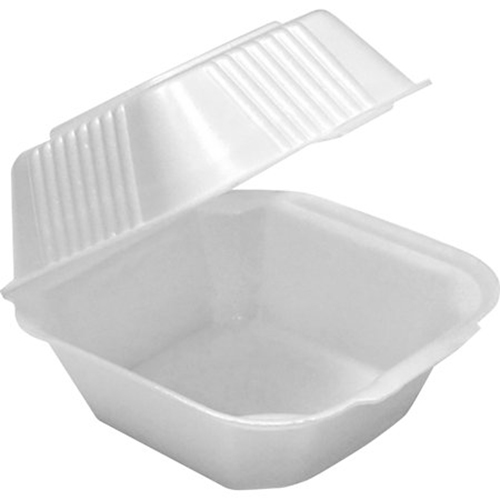 Foam Hinged Lid Containers, Single Tab Lock, 6.38 x 6.38 x 3, 1-Compartment, White, 500/Carton