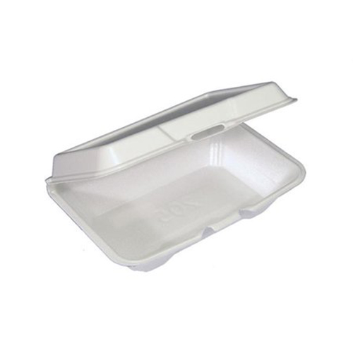 Foam Hinged Lid Containers, Single Tab Lock #205 Utility, 9.19 x 6.5 x 2.75, 1-Compartment, White, 150/Carton