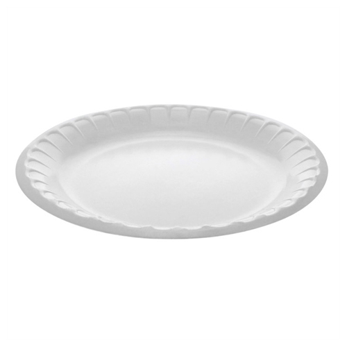 "Laminated Foam Dinnerware, Plate, 8.88"" Diameter, White, 500/Carton"