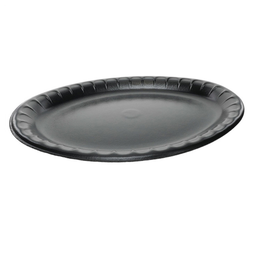 Laminated Foam Dinnerware, Platter, Oval, 11.5 x 8.5, Black, 500/Carton