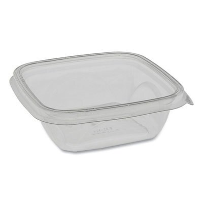 EarthChoice Recycled PET Square Base Salad Containers, 5 x 5 x 1.63, 12 oz, Clear, 504/Carton