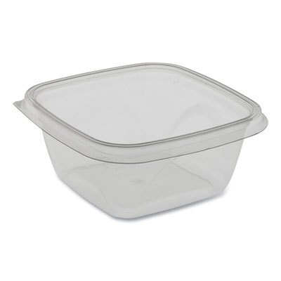 EarthChoice Recycled PET Square Base Salad Containers, 5 x 5 x 1.75, 16 oz,  Clear, 504/Carton