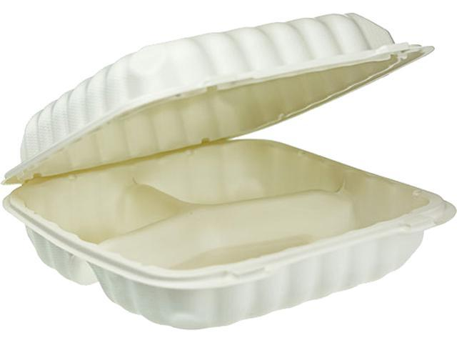 EarthChoice SmartLock Microwavable Hinged Lid Containers, 3 Compartment, 9 x 9 x 3.1, White, 100/Carton