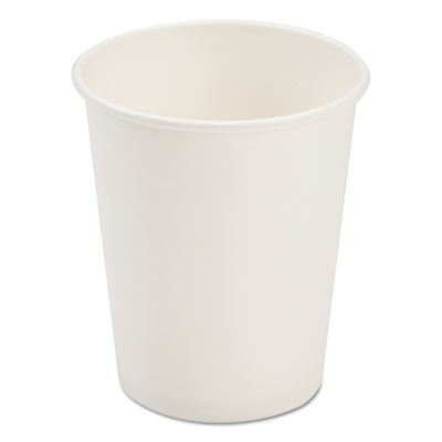 Dopaco Paper Hot Cups, 8 oz, White, 50/Bag, 20 Bags/Carton