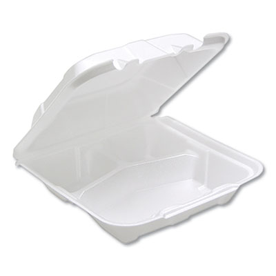 "Hinged Lid Container, 8.14"" x 8.42"", White, 150/Carton"