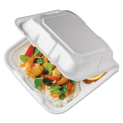 Foam Hinged Lid Containers, White, 8.4375 x 8 1/8 x 3, 3-Compartment, 150/Crtn