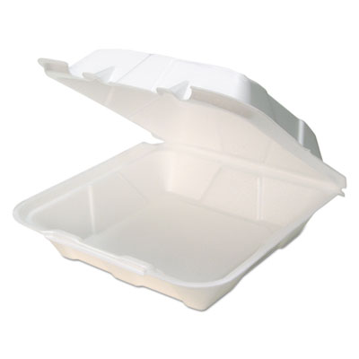 Foam Hinged Lid Containers, White, 9 x 9 x 3 1/2, 150/Carton