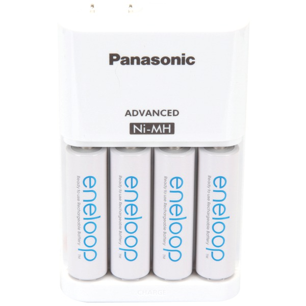 PANASONIC K-KJ17MCA4BA 4-Position Charger with AA eneloop Batteries, 4 pk
