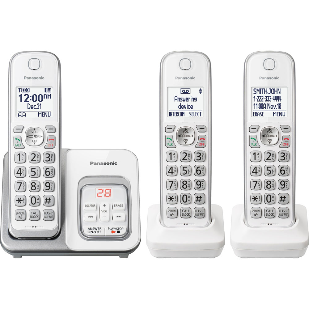 "Dect 6.0 Plus,3HS,Talking CID,TAD,150 Call Block,1.6""White LCD,Hads.Loca"