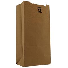 #12 Paper Grocery Bag, 50lb Kraft, Heavy-Duty 7 1/16 x 4 1/2 x 13 3/4, 500 bags