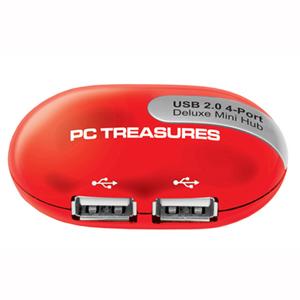 USB 4 Port Hub - Red