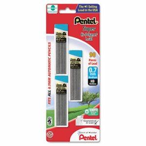 Super Hi-Polymer Lead Refills, 0.7mm, HB, Black, 30/Tube, 3 Tubes/Pack