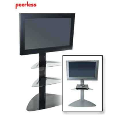 """Universal Stand for 32"""" to 50"""" Piano Black with 2 Tinted Glass Shelves"""