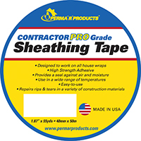 Perma R Contractor Pro Sheathing Tape, 55 yd L x 1.87 in W, White