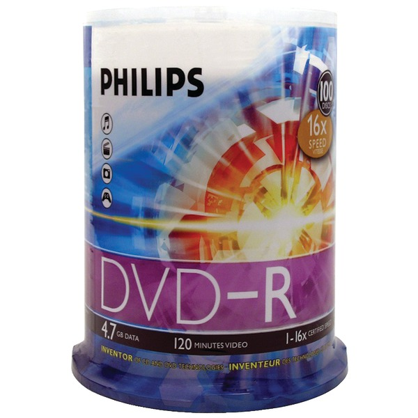 PHILIPS DM4S6B00F/17 4.7GB 16x DVD-Rs (100-ct Cake Box Spindle)