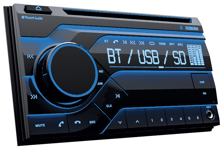 Planet Double Din MP3/CD/AM/FM Receiver Bluetooth Multi Color Display
