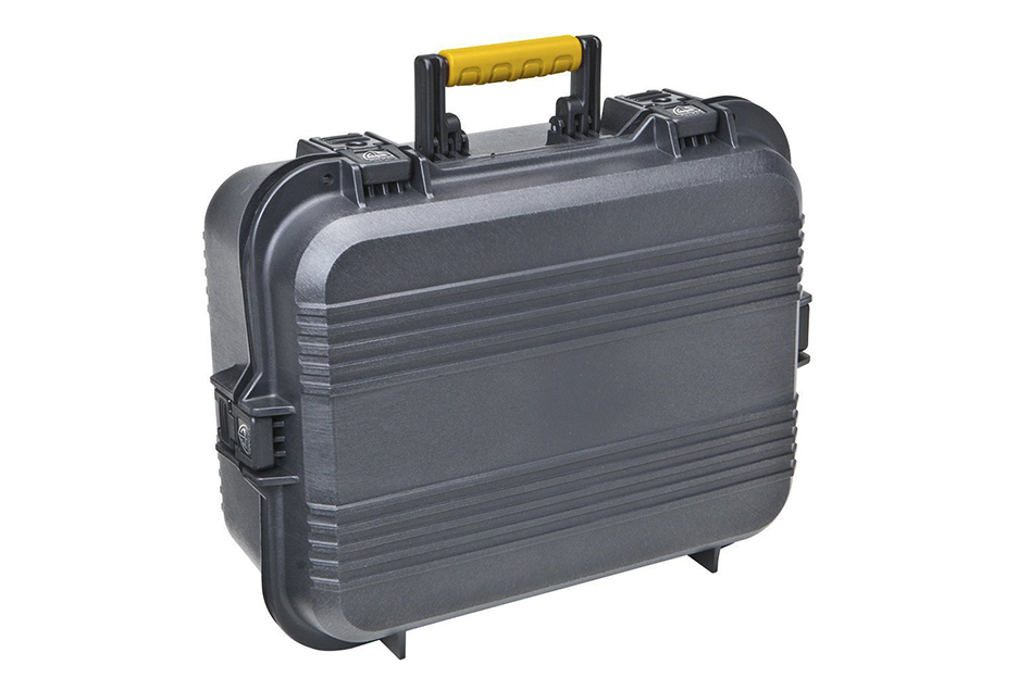 Plano All Weather PistolAccessories Case Xtra Large Black w/Yellow Latches/Handle