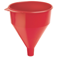 Plews 75-072 Funnel with Fine Mesh Strainer Screen, 9 in Dia x 11 in H, 6 qt, Polyethylene, Red