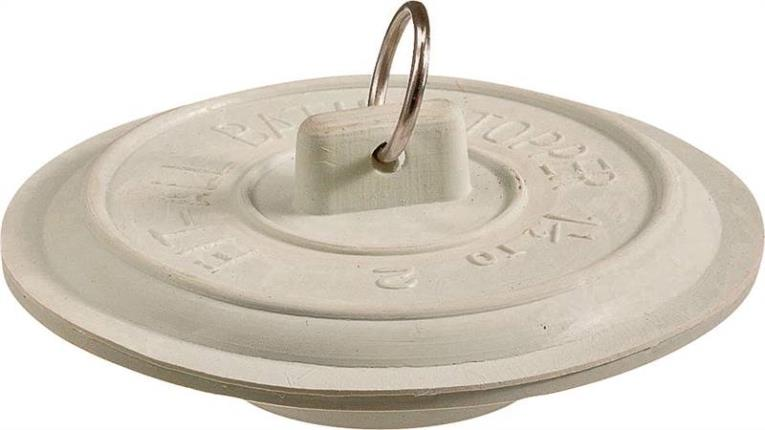 TUB STOPPER WHT RUBB 1-1/2-2
