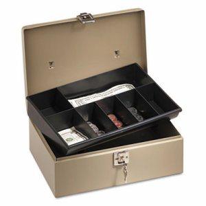 Lock'n Latch Steel Cash Box w/7 Compartments, Key Lock, Pebble Beige