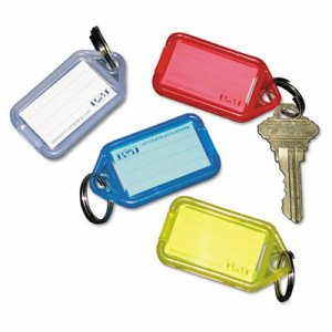 Extra Color-Coded Key Tags for Key Tag Rack, 1 1/8 x 2 1/4, Assorted, 4/Pack