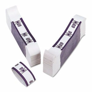 Color-Coded Kraft Currency Straps, Dollar Bill, $50, Self-Adhesive, 1000/Pack
