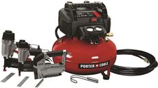 PORTER CABLE� COMPRESSOR TOOL KIT, WITH FINISH AND BRAD NAILER