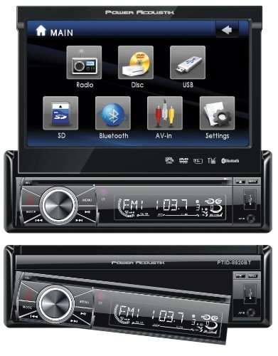 "Power Acoustik PTID-8920B 7"" Single-DIN In-Dash Motorized LCD Touchscreen DVD Receiver with Detachable Face (With Bluetooth(R"