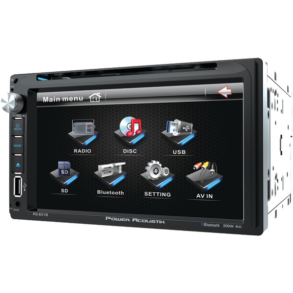 "POWER ACOUSTIK PD-651B 6.5"" Double-DIN In-Dash LCD Touchscreen DVD Receiver (With Bluetooth)"