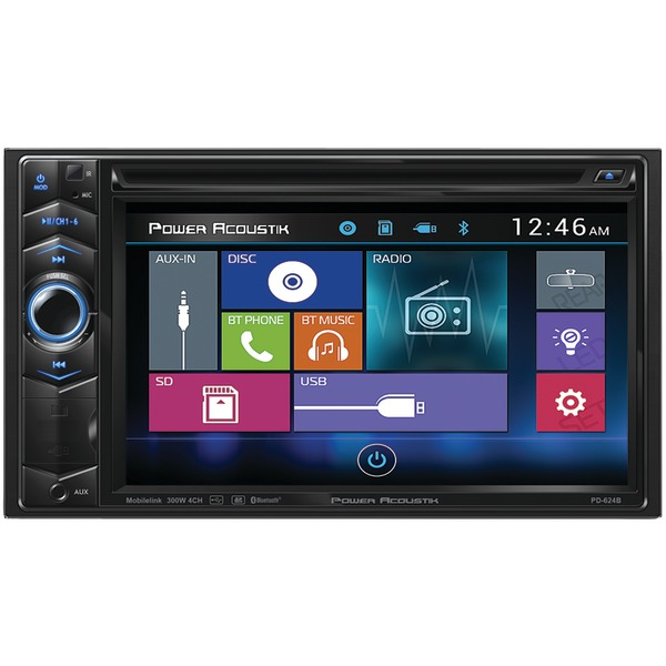 "Power Acoustik PD-624B 6.2"" Double-DIN In-Dash LCD Touchscreen DVD Receiver with Bluetooth"